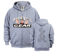 Popeye's GEAR Stitched Hoodie Full Zipper - Grey