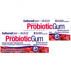 Prairie Naturals Cultured Care Probiotic Gum With BLIS K12 Oral Health- Raspberry/Pomegrante (2 Pack)